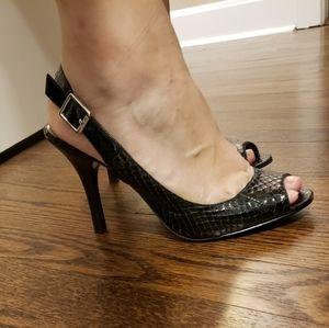 Calvin Klein Peeptoe Black Leather SnakeSkin Heels